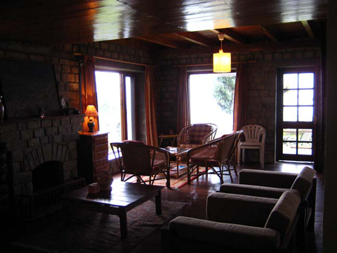stone log cabin - living area